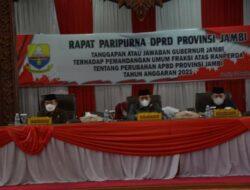 Gubernur Al Haris Sampaikan Jawaban Terhadap Pemandangan Umum Fraksi-Fraksi atas APBDP 2021